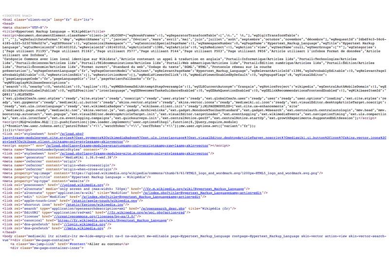 HTML code source